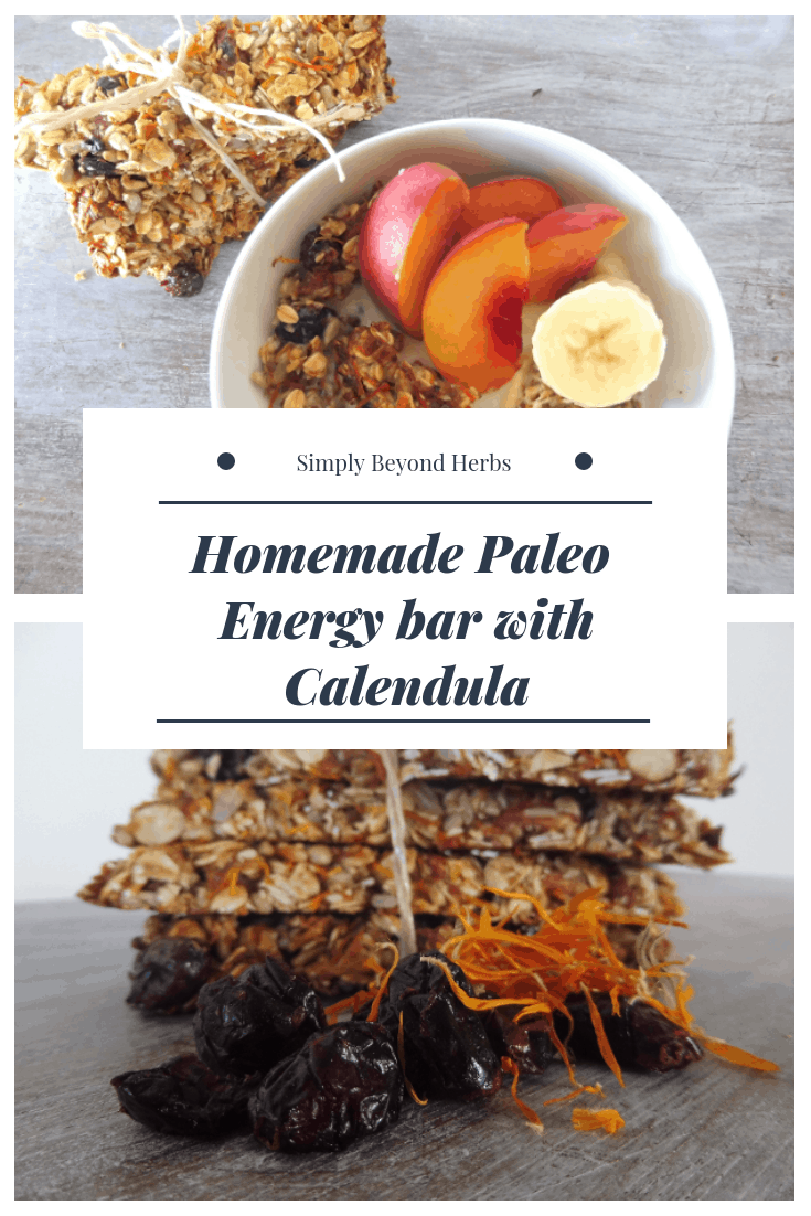 Homemade Paleo Energy bar with Calendula