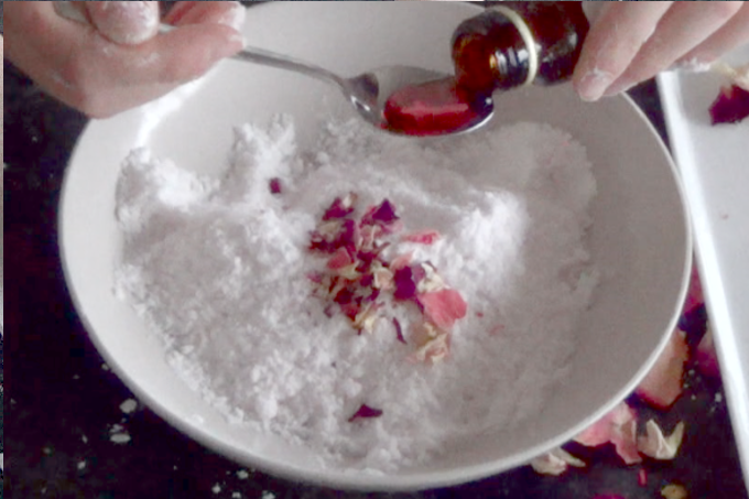 bath bomb recipe with rose petals and essential oils