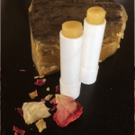 2 lip balms with rose petals and beeswax