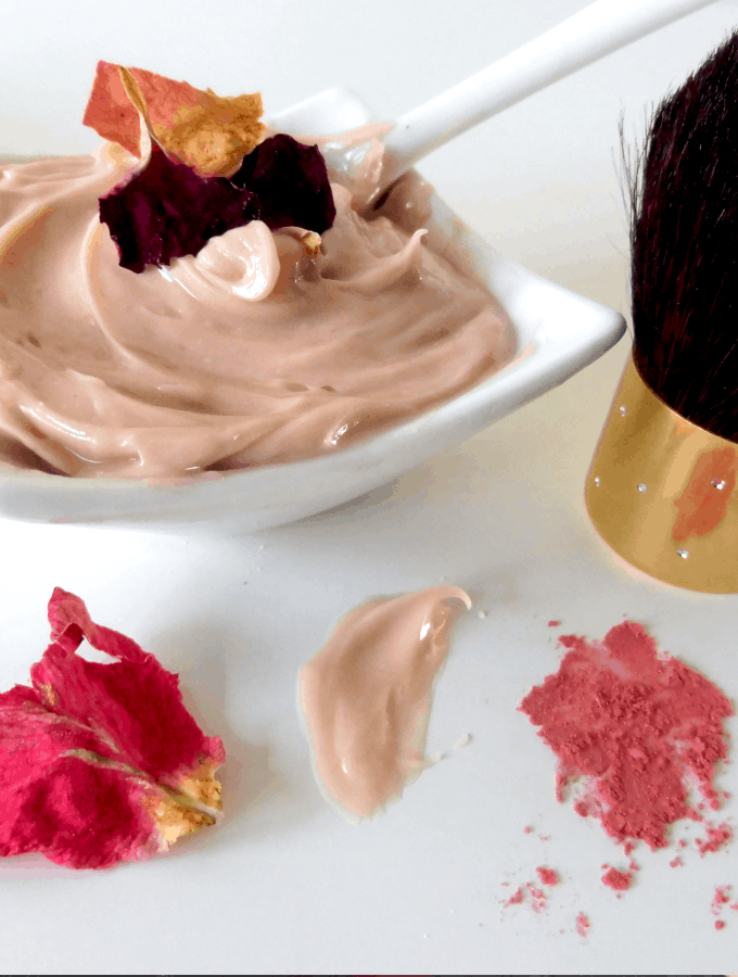 facial cream made of rose petals, rose water and rose oil