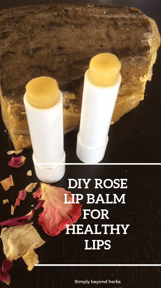 two tubes of lip balm with beeswax and rose petals