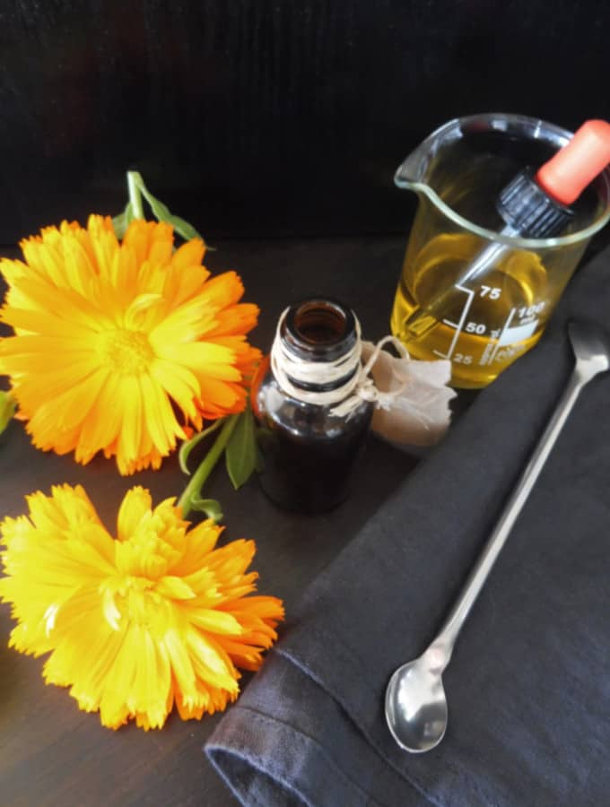 Calendula tincture with dark jar and metal spatula