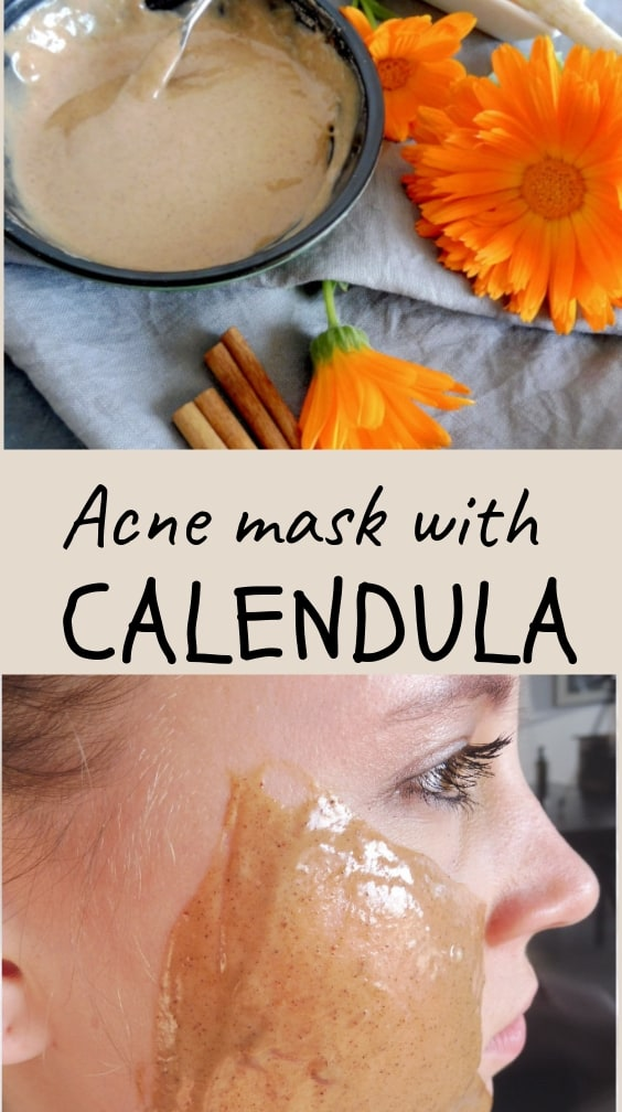 calendula acne mask and its application on the face