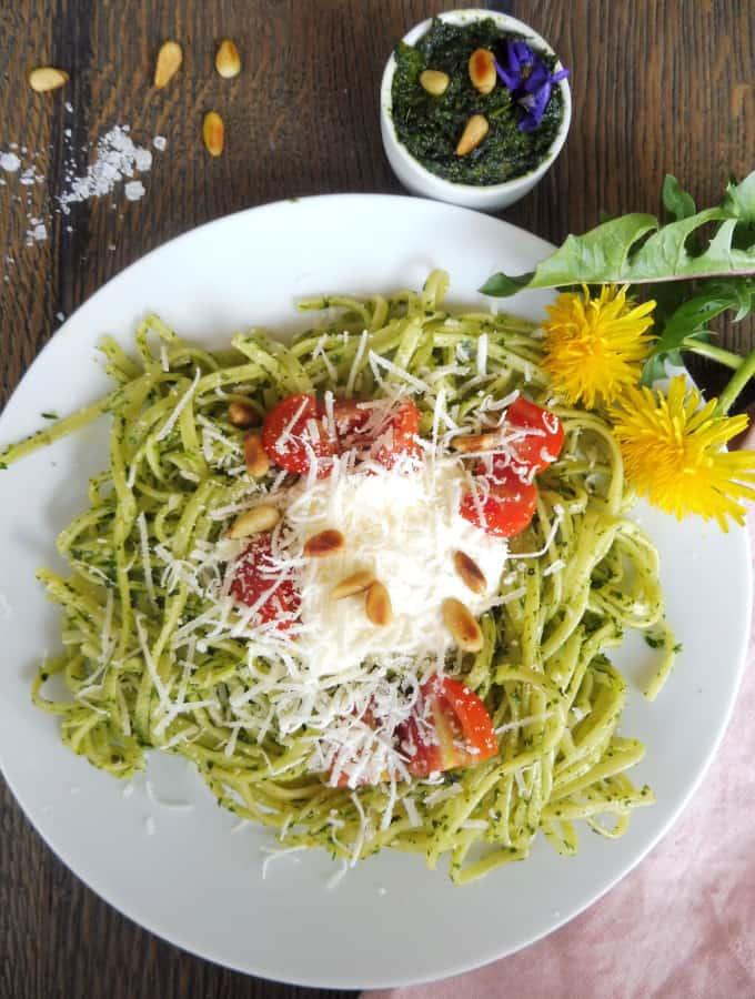 spagheti with wild pesto, parmazan and tomatoes