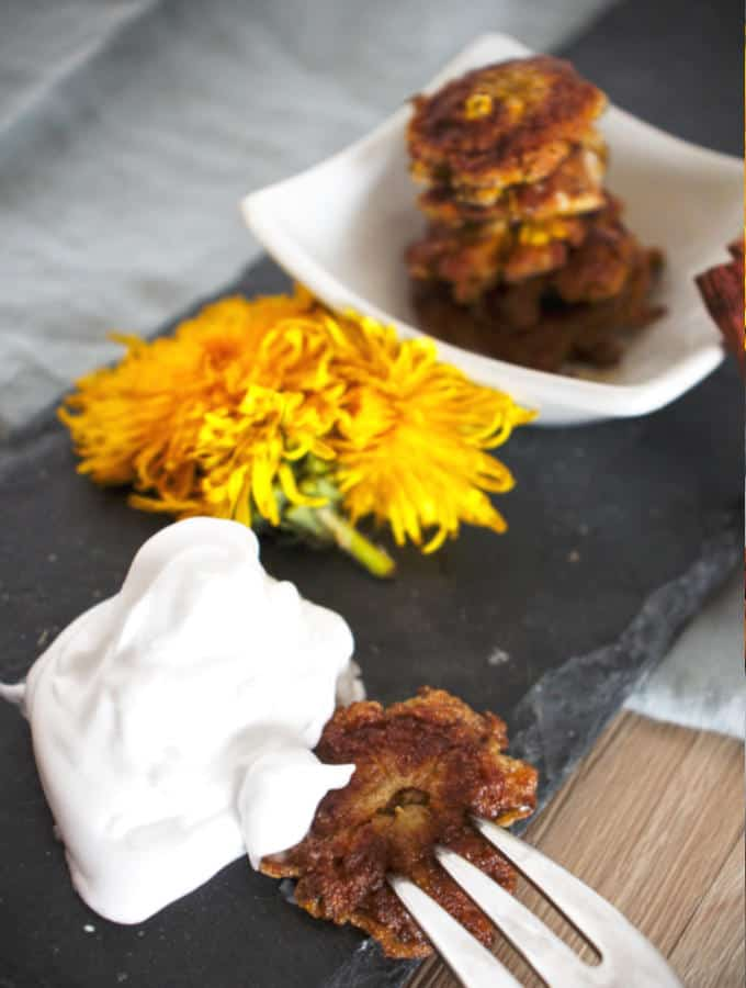 Fried dandelions with whipped cream