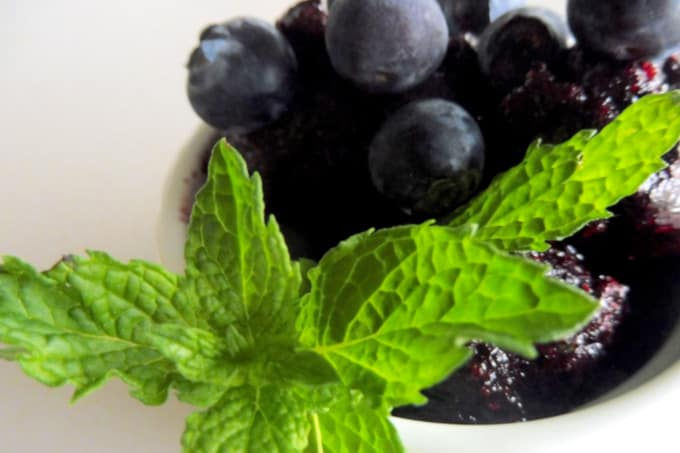 Blueberry and mint sorbet