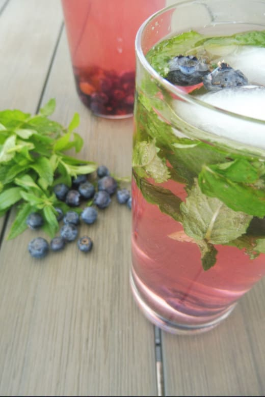 Blueberry and mint infused water