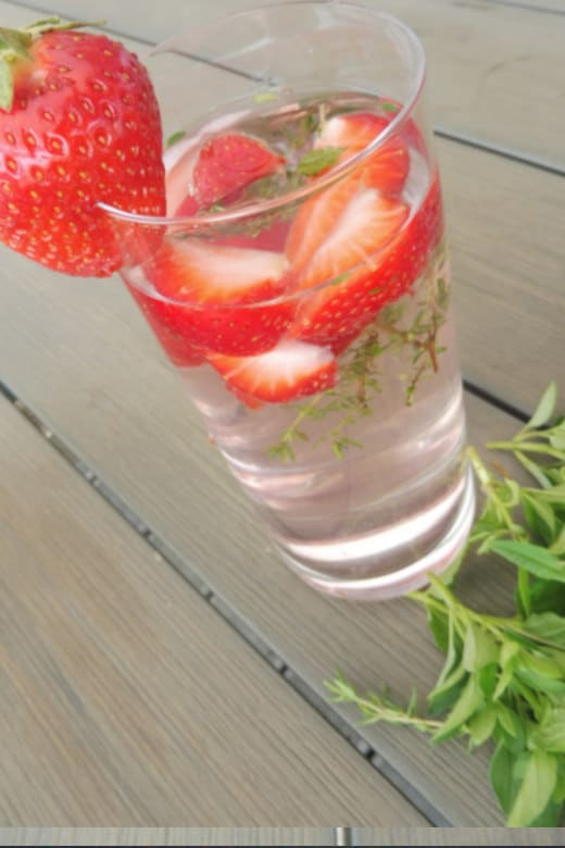 Strawberry and thyme infused water
