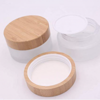 glass cream jar with wooden lid