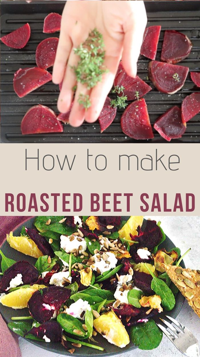 Roasted beets with spinach and oranges sprinkled with goat cheese and sunflower seeds make a perfect blend for a healthy and nutritious salad that will impress with its color and taste