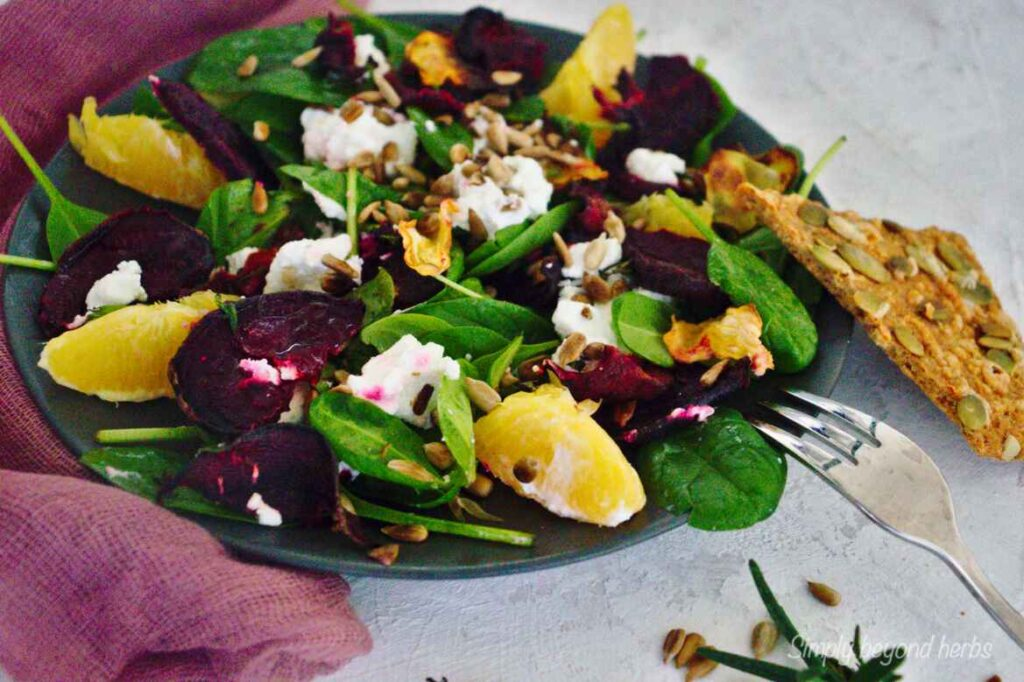 beet salad with oranges and goat cheese