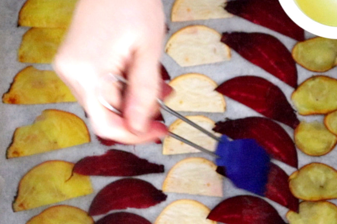 oiling beets with basting brush