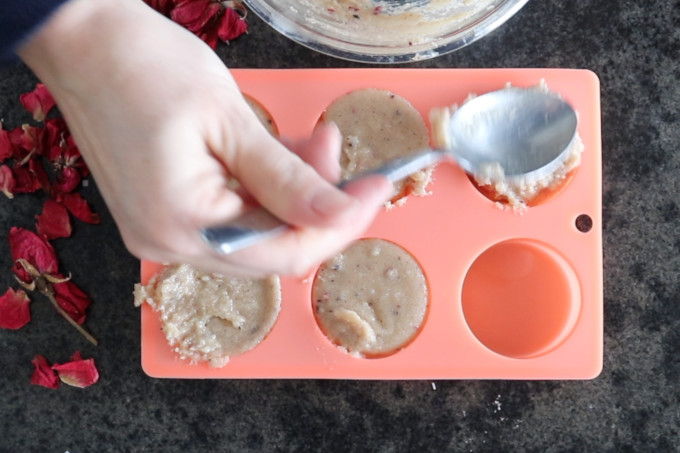 pouring mixture into the mold